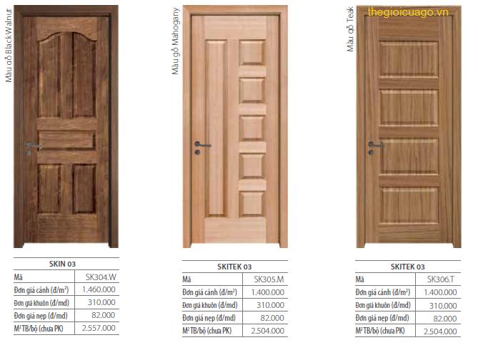 Bang giá cửa gỗ Skitek