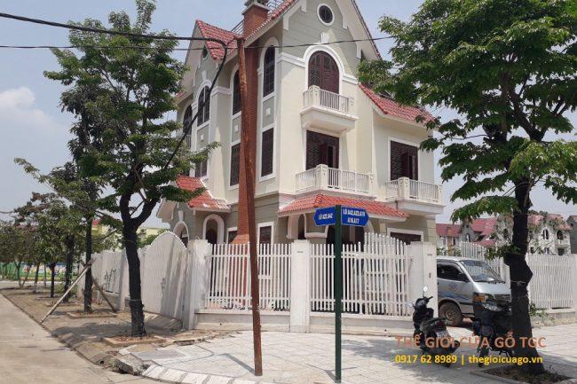 Công trình cửa gỗ Lineart LA201 nhà Anh Thành KĐT Geleximco đường Lê Trọng Tấn, Hà Nội